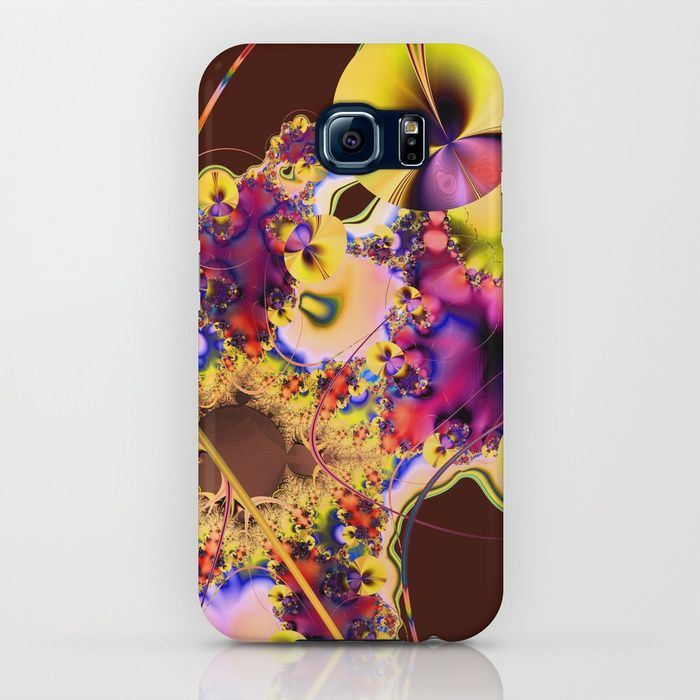 Hibiscus in Yellow Samsung Galaxy Case by Terrella.  A bright and colorful fractal image that looks like Hibiscus flowers with decorative sprays, flourishes and curved lines.  You may see something else.  This is the yellow version with a maroon background.