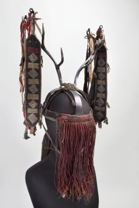 "This headdress of a ""big"" Evenk shaman (avun) made of steel was part of a full ritual costume worn by a shaman for very important rites and rituals. The structure of this headdress reflects its symbolic meaning and contains an archaic image of the model of the Universe."