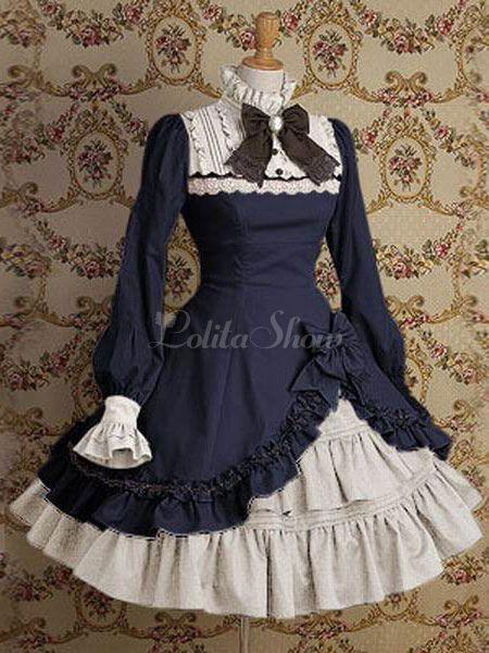 Lolita lindo vestido com gola alta e mangas longas góticas em saia Lolita azul escuro 2019