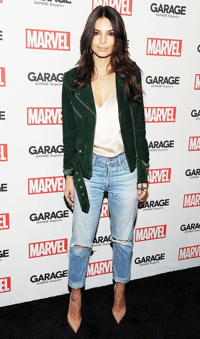 green suede moto jacket and distressed jeans The Top 7 Pieces Celebrities Love to Re-Wear via @WhoWhatWear