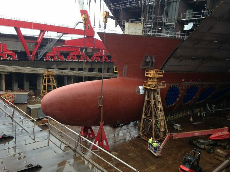 Bulbous bow being attached.