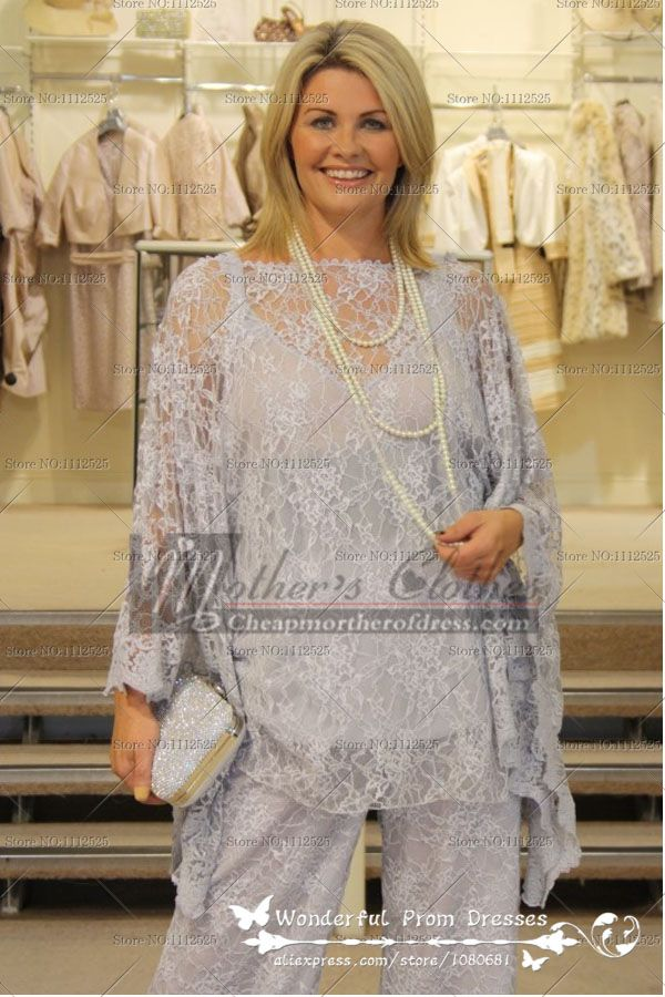 2015 Fashion Informal 3 piece lace Loose mother of the bride pants suit cmo-086