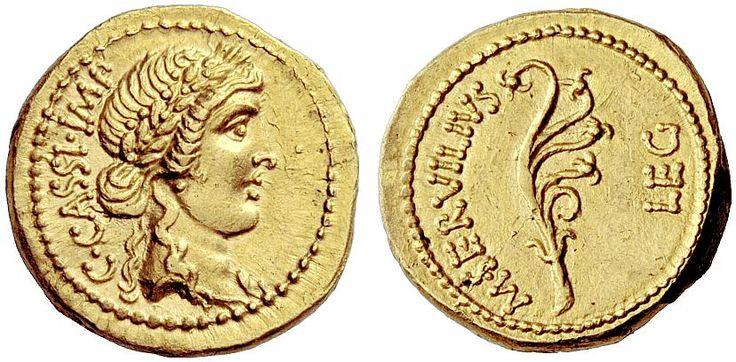 AV Aureus circa 43-42BC  Sardis Mint Gaius Cassius Longinus