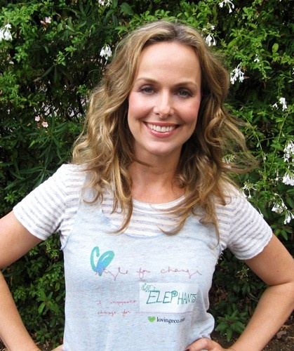 Actress Melora Hardin supporting ELEPHANTS in her Style For Change tanks!