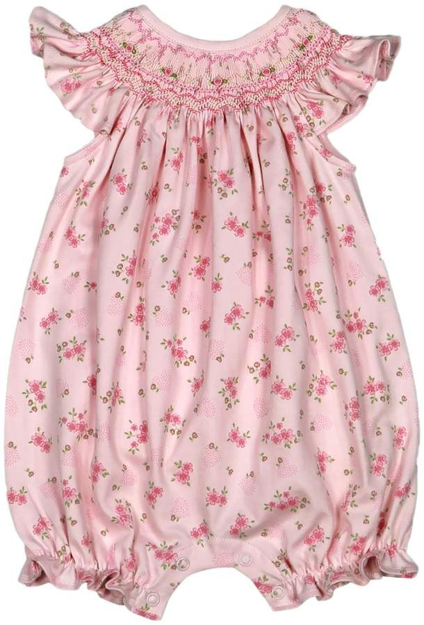 cdfd36aef Hug Me First Sarah Hand-Smocked Bubble Cotton Romper - Pink, Size 18-24m