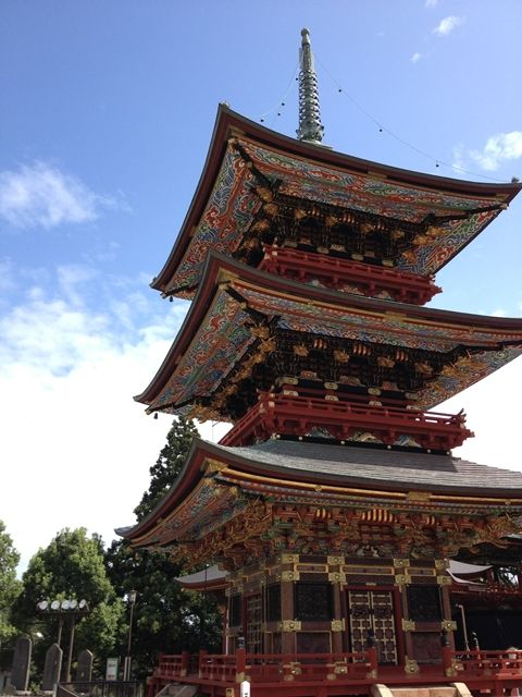"Three-story Pagoda(Japanese, 三重塔) of ""Naritasan shinshoji Temple(Japanese, 成田山新勝寺)"" in Chiba, Prefecture, Japan."