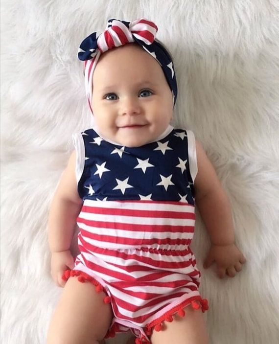 4th of july baby romper