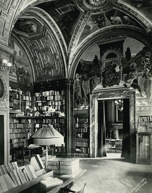 The University Club Library in Manhattan, New York. The University Club is a private club and hotel founded in 1861, and the current building was built in 1899. The library is an impressively-enormous, vaulted space with ornate gilding on the ceilings and thousands of books – perhaps the largest private library in the United States.