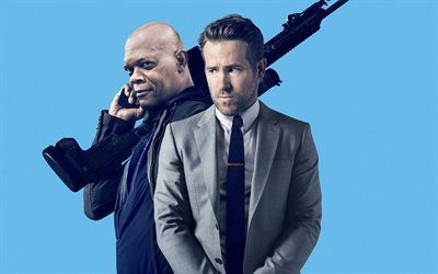 Download wallpapers The Hitmans Bodyguard, 2017, Ryan Reynolds, Samuel Leroy Jackson, New movies, poster, promo