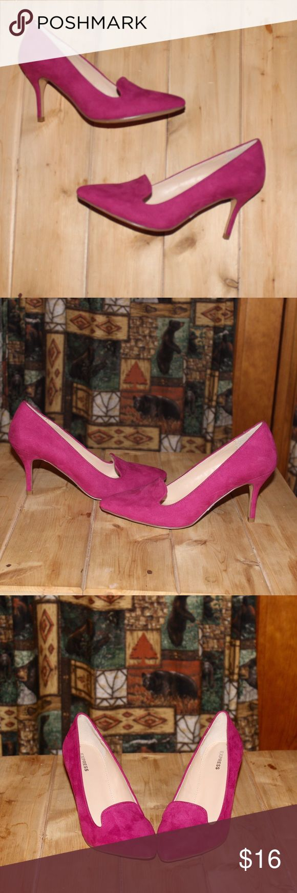 ✨ Express Heels ✨ Super cute super pink suede like Express heels. Heels are  purchased second hand so there is writing on the bottom of one sole. However it's where you cannot see it, and I think after one wear it will be gone. Otherwise shoes are in great condition. I purchased them as a size 6- they fit as a 6 but no size marked on shoe. Express Shoes Heels