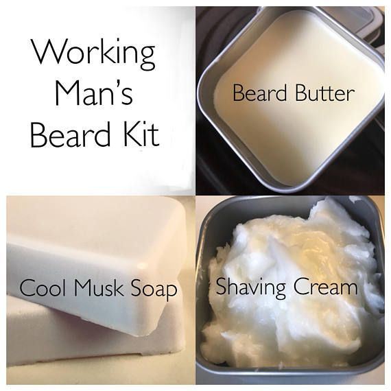 Working Man's Beard Kit with Beard Butter, Shave Cream, and Soap Handmade by SterlingSoapCo Enjoy the fresh aromatic cool musk scent of this beard kit. Beard Butter made with Vitamin E, Vitamin C, Coconut Oil, Sweet Almond Oil, and Beeswax. This butter is great for hydrating skin and