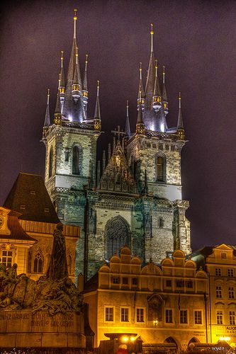 Church of Our Lady Before Tyn by night, Prague by waltyao, via Flickr