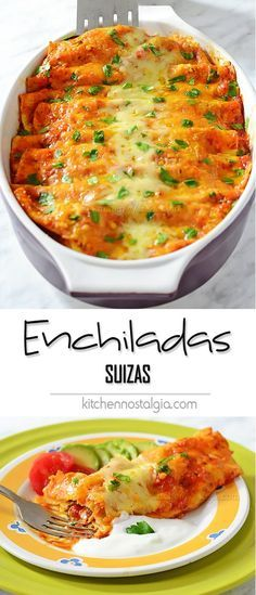 Enchiladas Suizas (Swiss-style Enchiladas) - extra cheesy chicken enchiladas in red enchilada sauce (Enchiladas Suizas rojas).