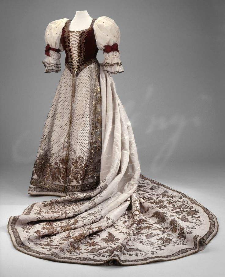 Spangled and Metallic Embroidered Hungarian Court Dress, 1867. Worn by Countess György Majláth to a coronation. Hungarian National Museum, via Ephemeral Elegance on Tumblr. CLICK FOR LARGER IMAGE.