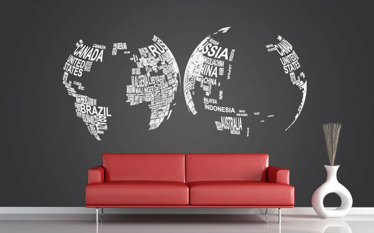Vinyl Wall Decal Art Mural Home Decor - World Map - 37.8x80.7. $159.00, via Etsy.