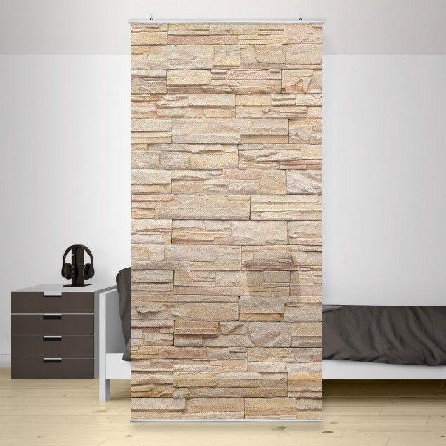 Raumteiler   Vorhang - Asian Stonewall - Große helle Steinmauer aus wohnlichen…