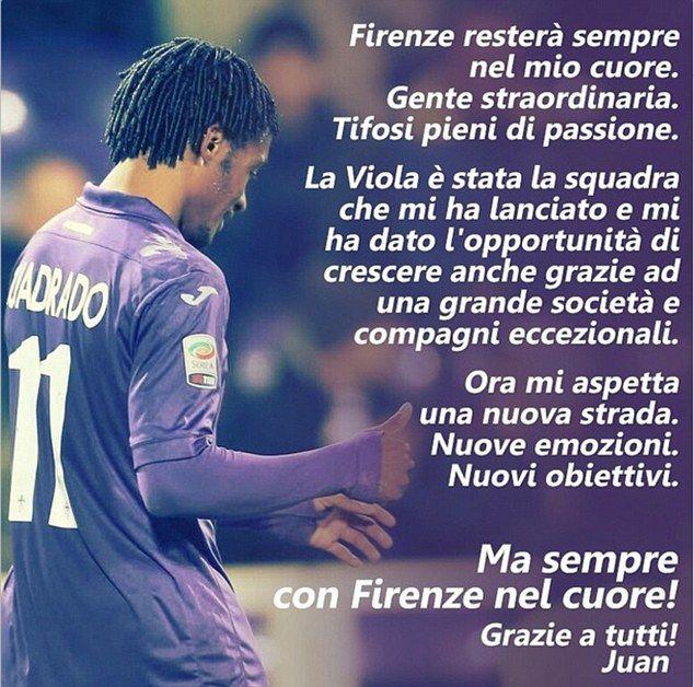 Juan Cuadrado posts heartfelt tribute to Fiorentina #dailymail