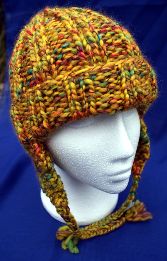 Hand knitted woolly earflap hat in attractive 'Mustard Yellow'. Handknit hat. Knit hat. Wool hat. Earflap hat with braids / plaits