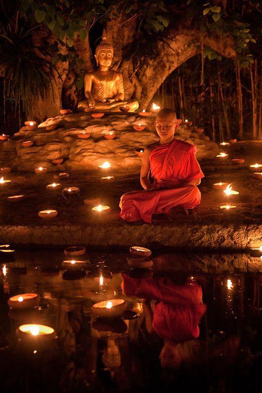 Meditating monk during Visakha Bucha ~ Chiang Mai, Thailand.