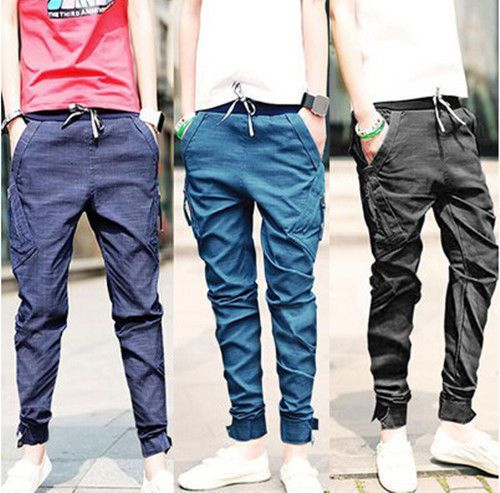 Men's Boy's Harem Pants Trousers Tapered Drop Crotch Cuffed Jogger Casual Jeans   eBay