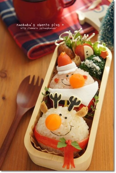 Ball santa and reindeer onigiri bento