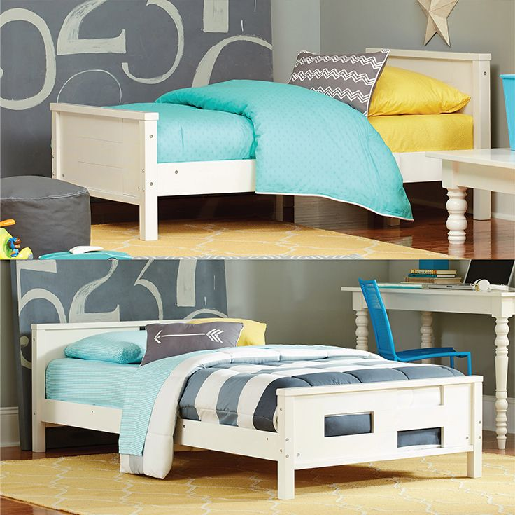 The Baby Relax Phases and Stages Toddler to Twin Convertible Bed begins as a toddler bed with a beautifully designed full paneled footboard and headboard. Once your child outgrows the toddler bed, the patent-pending innovation allows the toddler bed to convert into a fully-slatted twin size bed!