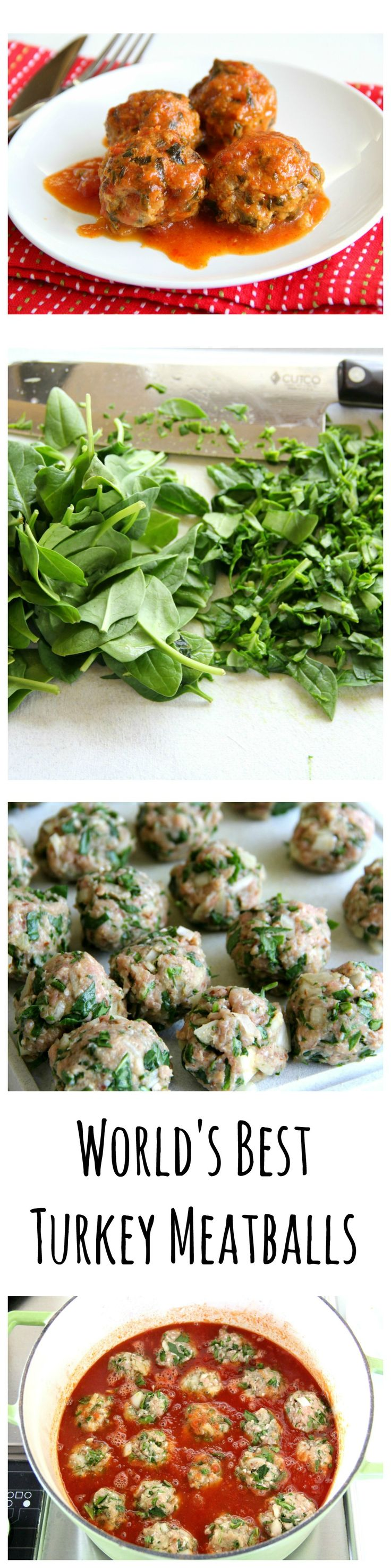 World's Best Turkey Meatballs: Healthy turkey meatballs with spinach in a 2-ingredient sweet-sour sauce is a kid-pleaser that makes the adults smile, too. Nobody even notices the spinach or makes a stink about it. :)!