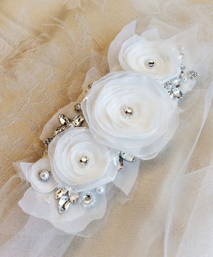 Bridal sash with bow, delicate fabric flowers onto a sheer tulle sash, and with some sparkles. Wedding sash.