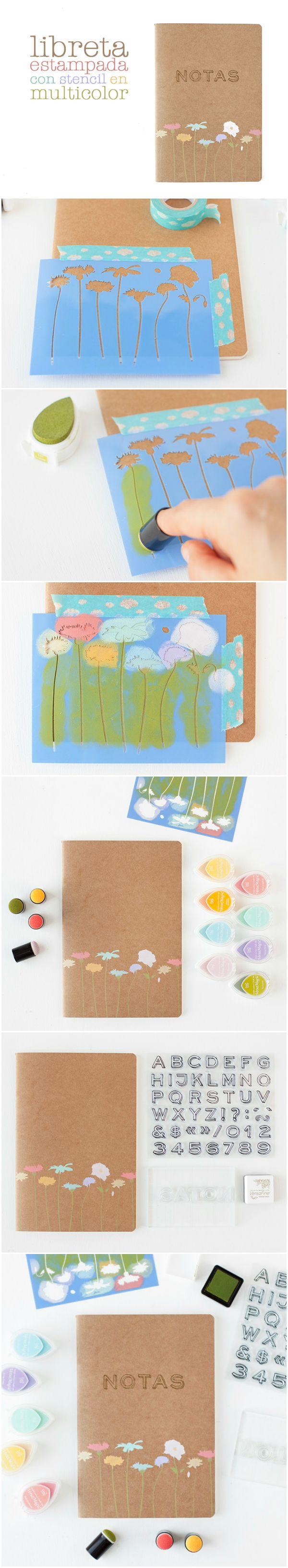 Cómo usar un stencil para estampar una libreta en multicolor.