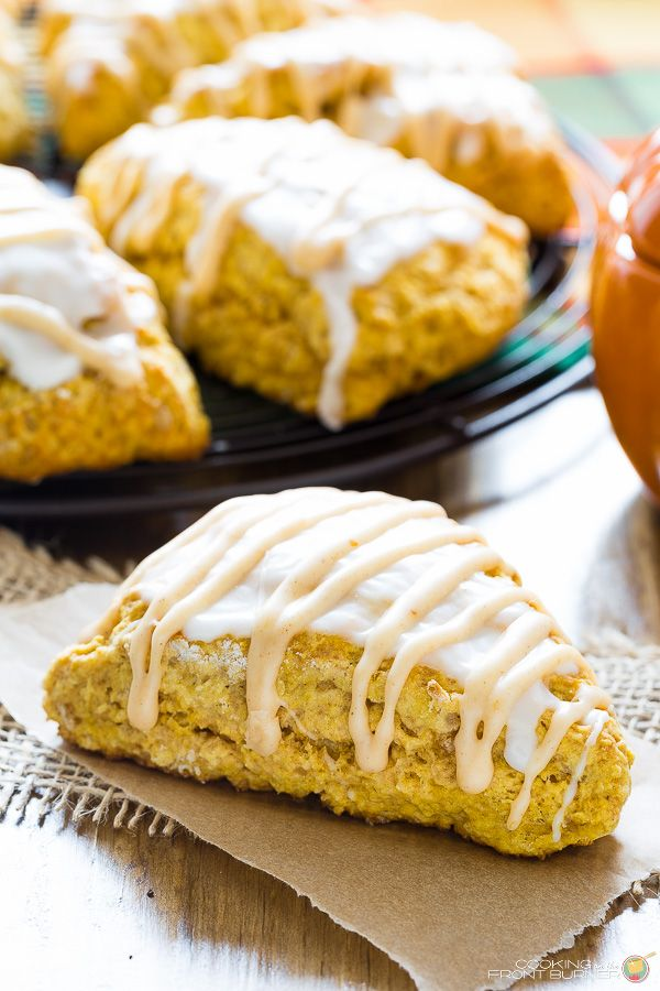 Enjoy these pumpkin scones at home with your coffee or tea! Kicked up a notch with crystallized ginger.