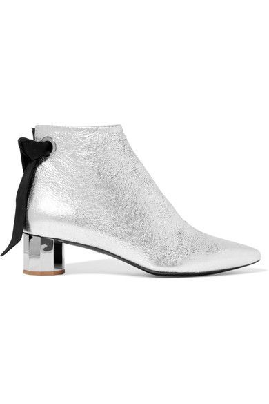 Proenza Schouler - Suede-trimmed Metallic Textured-leather Ankle Boots - Silver