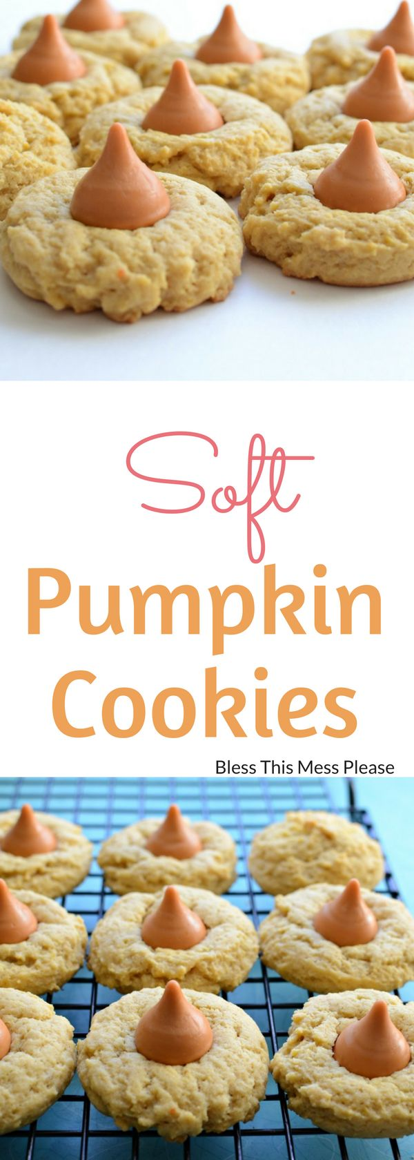 Soft Pumpkin Cookies ~ deliciously soft pumpkin cookies topped with Pumpkin Spice Hershey's Kisses ~ The result is a pretty cookie that is soft and chewy, with just the right amount of sweet.