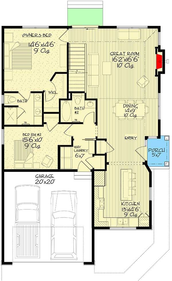Plan 73384hs Exclusive Modestly Sized Craftsman Home Plan With Innovative Front Door Craftsman House Plans Craftsman House House Plans