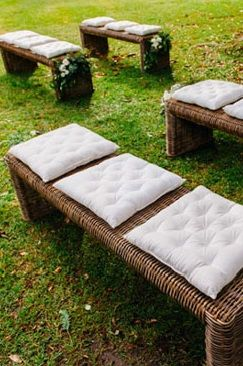 White Square Bench Seat Cushions Chairs | Lovebird Weddings