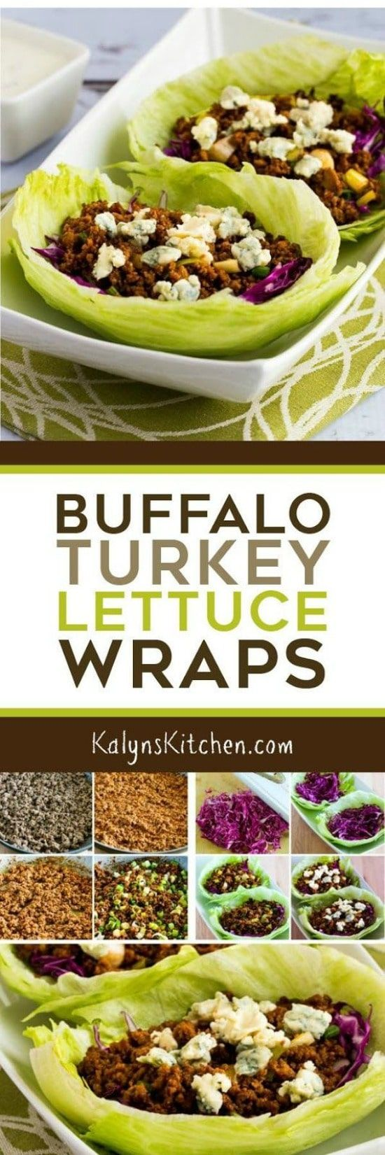 Buffalo Turkey Lettuce Wraps are low-carb, Keto, low-glycemic, gluten-free, and South Beach Diet friendly! And Buffalo Chicken fans will love this dish! [found on KalynsKitchen.com] #KalynsKitchen #BuffaloTurkeyLettuceWraps #BuffaloLettuceWraps #LettuceWraps