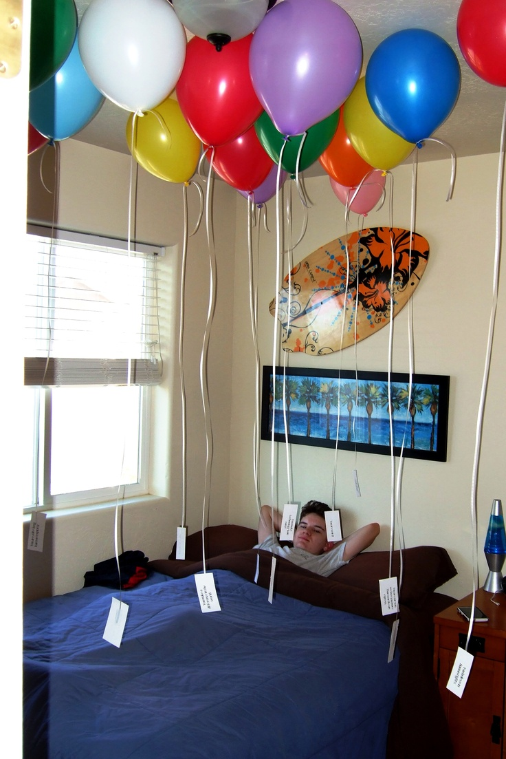 """""""Reasons We Love You""""  Every balloon has a tag with something we love about our son written on it.  We used the number of balloons equal to the age of our son."""