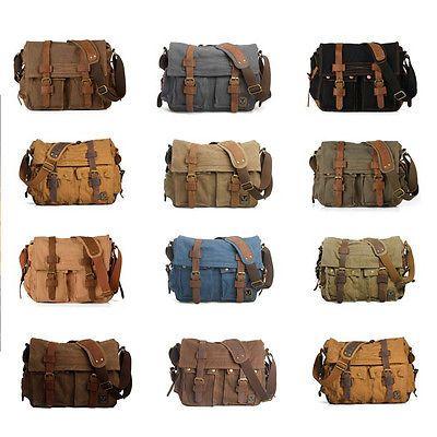 Men's Vintage Canvas Leather Messenger Shoulder Bag Military Satchel Hiking Bag