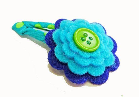 Capelli fiore di feltro blu clip / clip di capelli di feltro /