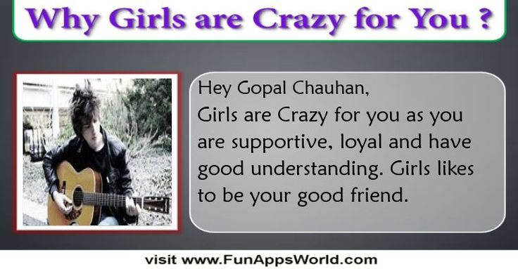 Check my results of Why Boys/Girls are Crazy for you? Facebook Fun App by clicking Visit Site button