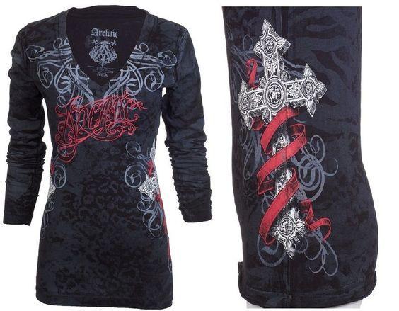 Archaic AFFLICTION Women LS T-Shirt BLACK SHEEP Tattoo Biker UFC Sinful M-XL $58 #Affliction #GraphicTee