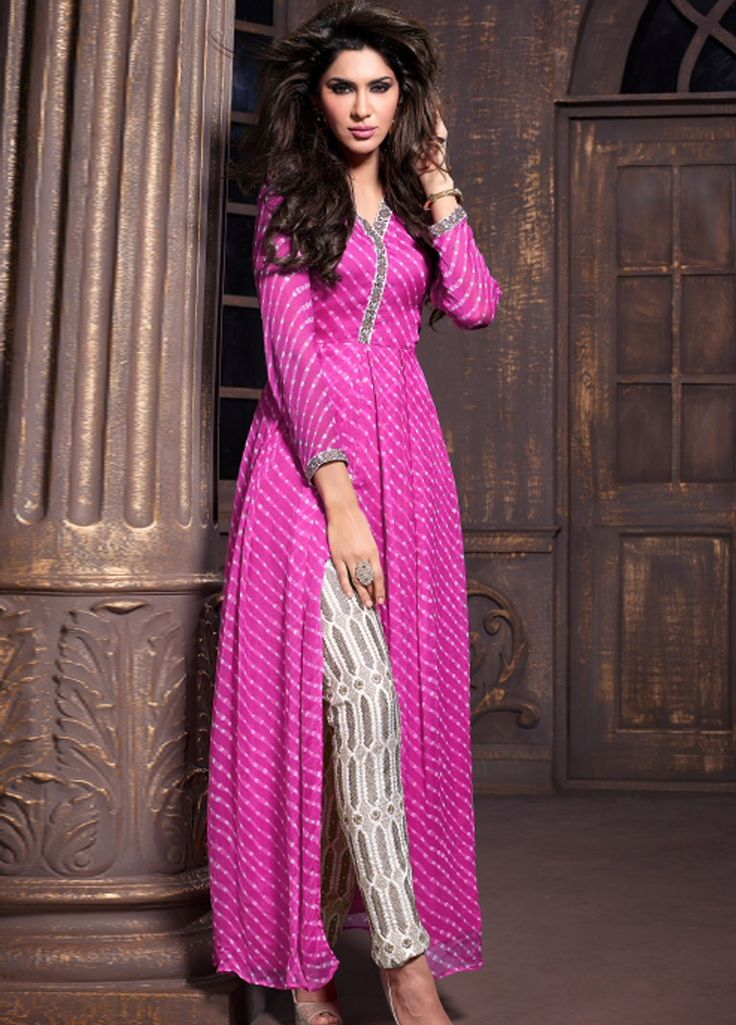 Pink colur #StraightCut #Party #Wear #Suits.