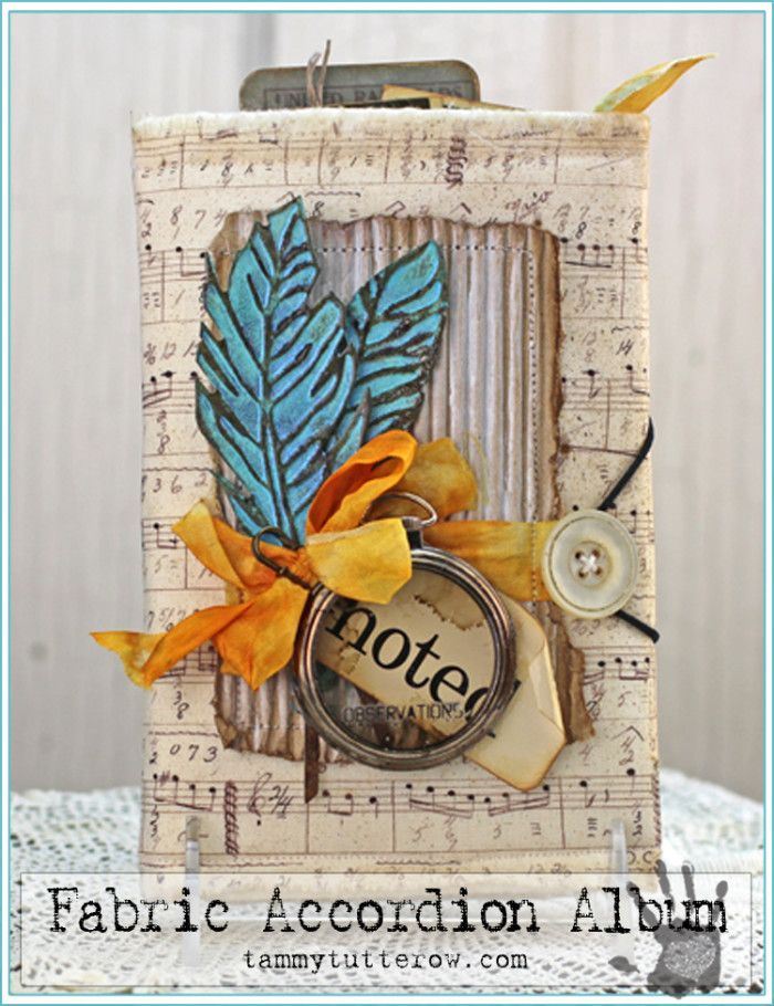 Tammy Tutterow | Fabric Junk Accordion Album featuring Tim Holtz Eclectic Elements, Idea-ology, and Sizzix Alterations.