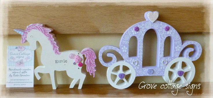 Unicorn and carriage www.grovecottagesigns.co.uk #handmade #grovecottage #hernebay #unicorn #carriage #princess #personalised
