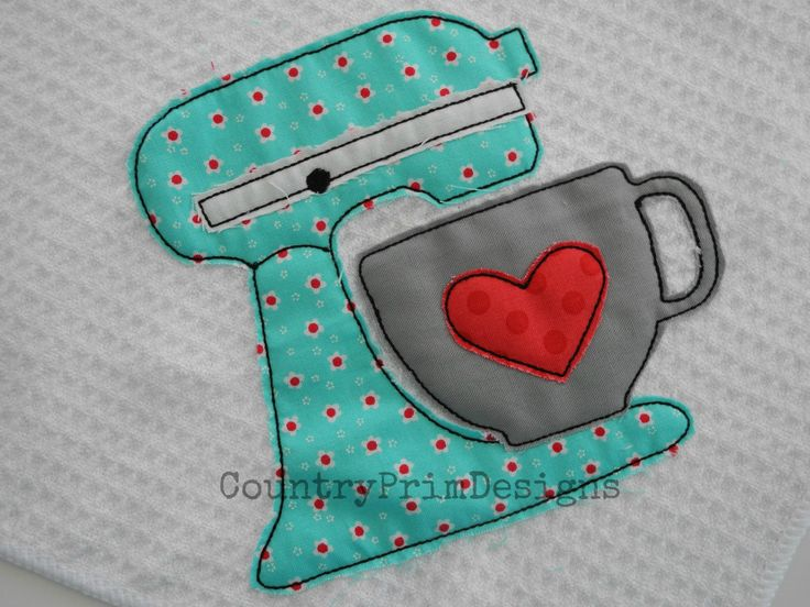 Raggy Mixer Applique Country Kitchen Machine by CountryPrimDesigns, $2.99