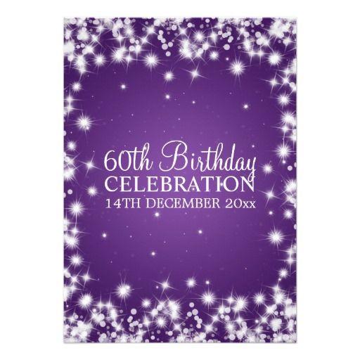 Eleganter 60. Geburtstags-Party-Winter-Schein lila Ankündigungskarte
