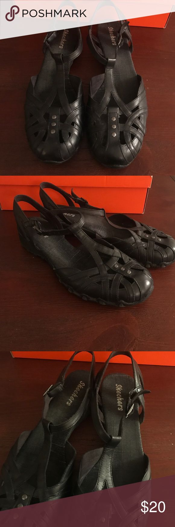Black Skechers Sandals Excellent condition size 10 black leather sandals in very good condition. Insoles show a little wear but outer is in excellent condition. Skechers Shoes Sandals