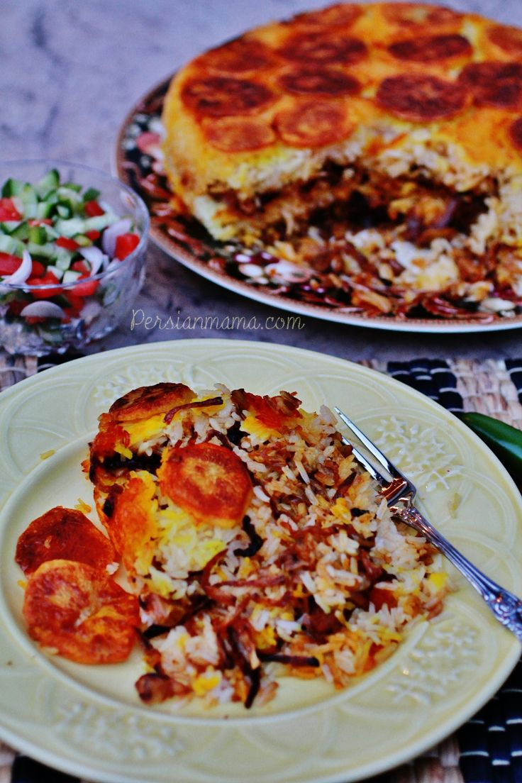 """Kalam Polo - Persian mixed rice with cabbage is delicious with or without meat with a golden potato bottom of the pot """"TahDig"""""""