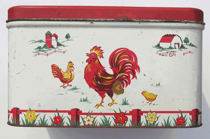 Vintage Decoware Bread Box Rooster Design Red White Metal 1960s Tin Midcentury Hinged 1960s by Cyberontix on Etsy https://www.etsy.com/listing/227614506/vintage-decoware-bread-box-rooster