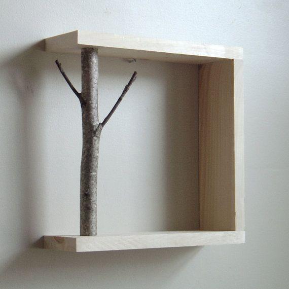 white birch forest - natural white birch wood wall art/shelf on Etsy, Sold