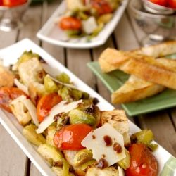 Winter panzanella salad with roasted brussels sprouts, blistered ...